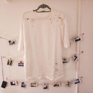 ZARA BASIC oversized distressed t-shirt